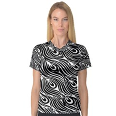 Digitally Created Peacock Feather Pattern In Black And White Women s V Neck Sport Mesh Tee
