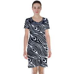 Digitally Created Peacock Feather Pattern In Black And White Short Sleeve Nightdress