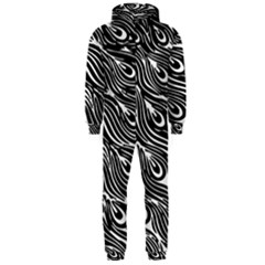 Digitally Created Peacock Feather Pattern In Black And White Hooded Jumpsuit (Men)
