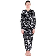 Digitally Created Peacock Feather Pattern In Black And White OnePiece Jumpsuit (Ladies)