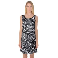 Digitally Created Peacock Feather Pattern In Black And White Sleeveless Satin Nightdress