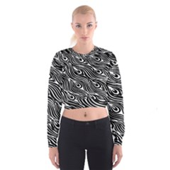 Digitally Created Peacock Feather Pattern In Black And White Women s Cropped Sweatshirt