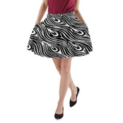 Digitally Created Peacock Feather Pattern In Black And White A-Line Pocket Skirt