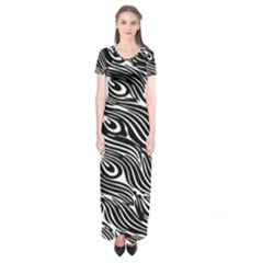 Digitally Created Peacock Feather Pattern In Black And White Short Sleeve Maxi Dress