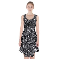 Digitally Created Peacock Feather Pattern In Black And White Racerback Midi Dress
