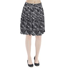 Digitally Created Peacock Feather Pattern In Black And White Pleated Skirt