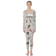 Seamless Floral Patterns  Long Sleeve Catsuit