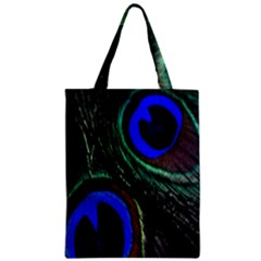 Peacock Feather Zipper Classic Tote Bag