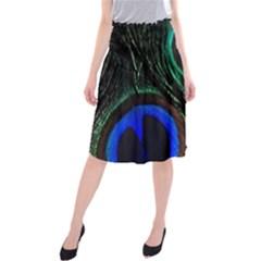 Peacock Feather Midi Beach Skirt