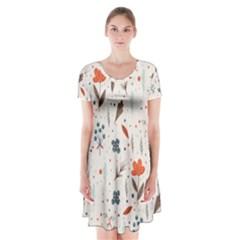 Seamless Floral Patterns  Short Sleeve V-neck Flare Dress