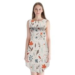 Seamless Floral Patterns  Sleeveless Chiffon Dress