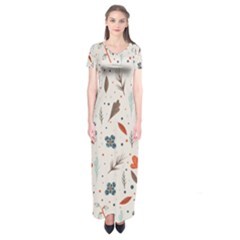 Seamless Floral Patterns  Short Sleeve Maxi Dress