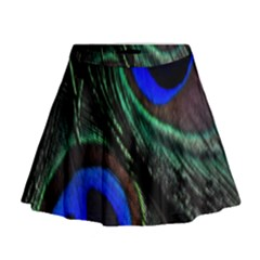 Peacock Feather Mini Flare Skirt
