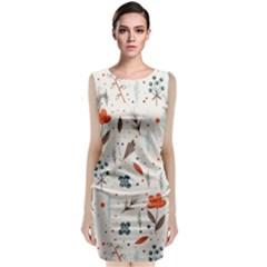 Seamless Floral Patterns  Sleeveless Velvet Midi Dress