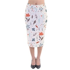 Seamless Floral Patterns  Velvet Midi Pencil Skirt