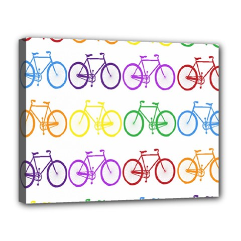 Rainbow Colors Bright Colorful Bicycles Wallpaper Background Canvas 14  X 11