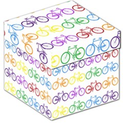 Rainbow Colors Bright Colorful Bicycles Wallpaper Background Storage Stool 12