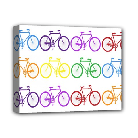 Rainbow Colors Bright Colorful Bicycles Wallpaper Background Deluxe Canvas 14  x 11