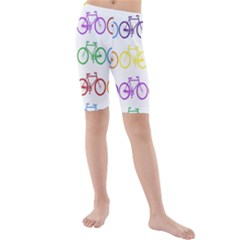 Rainbow Colors Bright Colorful Bicycles Wallpaper Background Kids  Mid Length Swim Shorts
