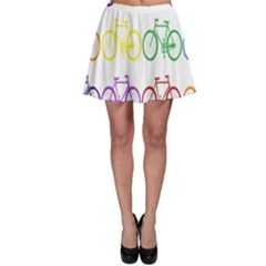 Rainbow Colors Bright Colorful Bicycles Wallpaper Background Skater Skirt