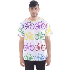 Rainbow Colors Bright Colorful Bicycles Wallpaper Background Men s Sport Mesh Tee