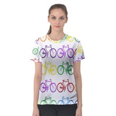 Rainbow Colors Bright Colorful Bicycles Wallpaper Background Women s Sport Mesh Tee