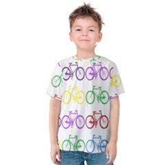 Rainbow Colors Bright Colorful Bicycles Wallpaper Background Kids  Cotton Tee