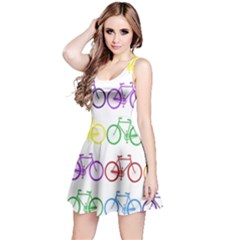 Rainbow Colors Bright Colorful Bicycles Wallpaper Background Reversible Sleeveless Dress