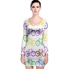 Rainbow Colors Bright Colorful Bicycles Wallpaper Background Long Sleeve Bodycon Dress
