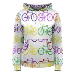 Rainbow Colors Bright Colorful Bicycles Wallpaper Background Women s Pullover Hoodie