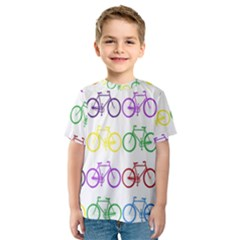Rainbow Colors Bright Colorful Bicycles Wallpaper Background Kids  Sport Mesh Tee