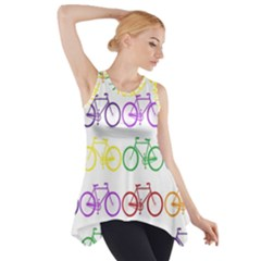 Rainbow Colors Bright Colorful Bicycles Wallpaper Background Side Drop Tank Tunic