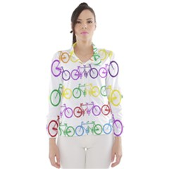 Rainbow Colors Bright Colorful Bicycles Wallpaper Background Wind Breaker (Women)