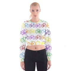 Rainbow Colors Bright Colorful Bicycles Wallpaper Background Women s Cropped Sweatshirt