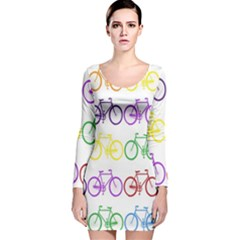 Rainbow Colors Bright Colorful Bicycles Wallpaper Background Long Sleeve Velvet Bodycon Dress