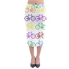 Rainbow Colors Bright Colorful Bicycles Wallpaper Background Midi Pencil Skirt