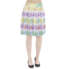 Rainbow Colors Bright Colorful Bicycles Wallpaper Background Pleated Skirt