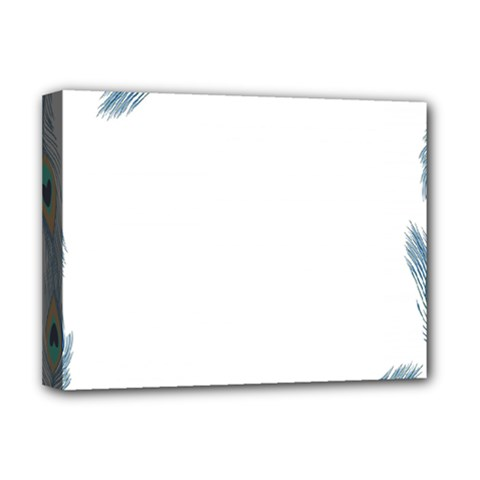 Beautiful Frame Made Up Of Blue Peacock Feathers Deluxe Canvas 16  x 12