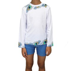 Beautiful Frame Made Up Of Blue Peacock Feathers Kids  Long Sleeve Swimwear