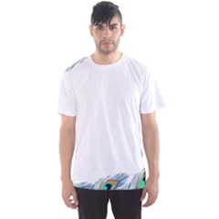 Beautiful Frame Made Up Of Blue Peacock Feathers Men s Sport Mesh Tee