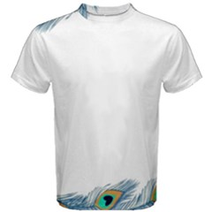 Beautiful Frame Made Up Of Blue Peacock Feathers Men s Cotton Tee