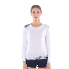 Beautiful Frame Made Up Of Blue Peacock Feathers Women s Long Sleeve Tee