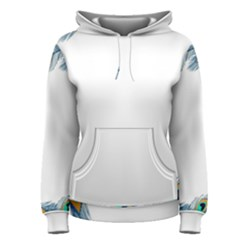 Beautiful Frame Made Up Of Blue Peacock Feathers Women s Pullover Hoodie