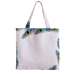 Beautiful Frame Made Up Of Blue Peacock Feathers Zipper Grocery Tote Bag
