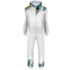 Beautiful Frame Made Up Of Blue Peacock Feathers Hooded Jumpsuit (men)