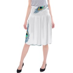 Beautiful Frame Made Up Of Blue Peacock Feathers Midi Beach Skirt
