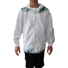 Beautiful Frame Made Up Of Blue Peacock Feathers Hooded Wind Breaker (kids)