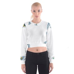 Beautiful Frame Made Up Of Blue Peacock Feathers Women s Cropped Sweatshirt