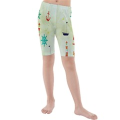 Vintage Seamless Nautical Wallpaper Pattern Kids  Mid Length Swim Shorts