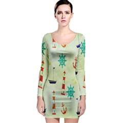 Vintage Seamless Nautical Wallpaper Pattern Long Sleeve Bodycon Dress